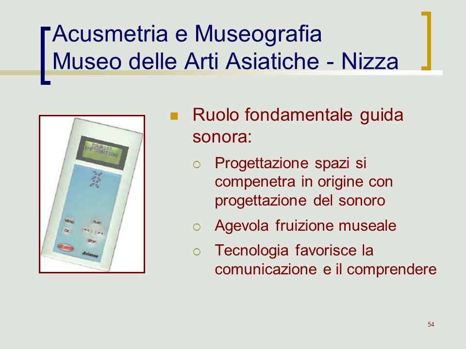 54 Acusmetria e Museografia Museo delle Arti Asiatiche - Nizza Ruolo fondamentale guida sonora: Progettazione spazi si compenetra in origine con proge