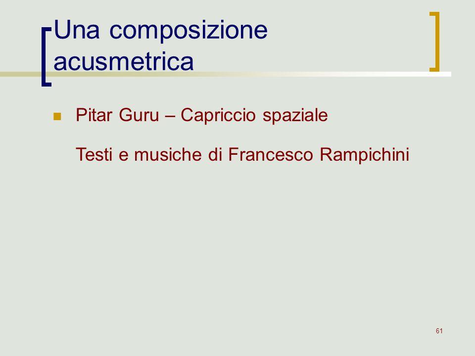 61 Una composizione acusmetrica Pitar Guru – Capriccio spaziale Testi e musiche di Francesco Rampichini