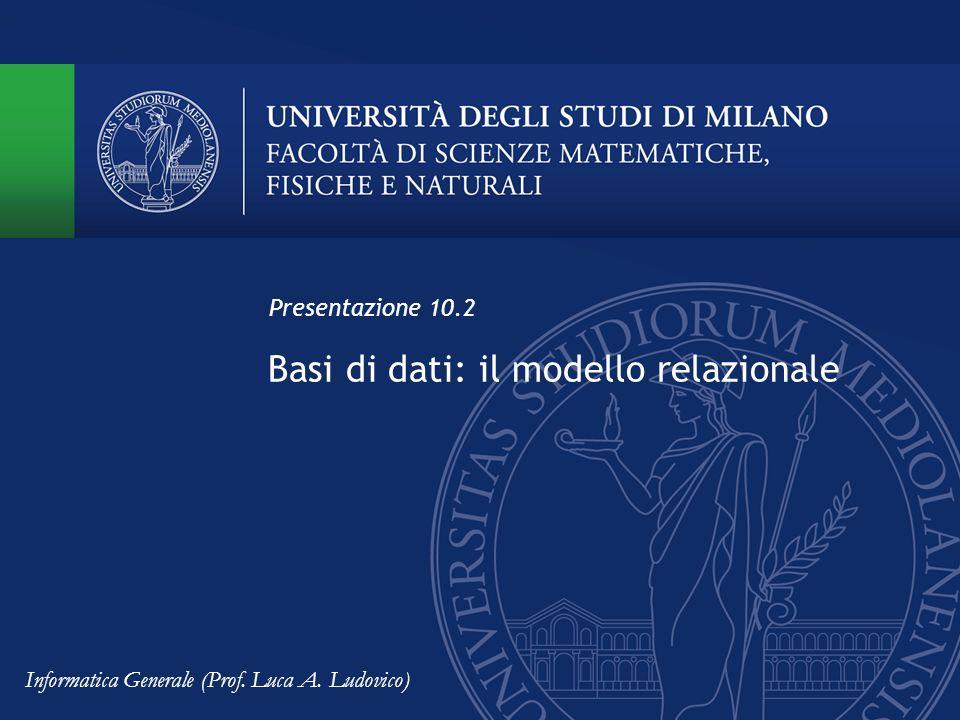 Basi di dati: il modello relazionale Presentazione 10.2 Informatica Generale (Prof. Luca A. Ludovico)