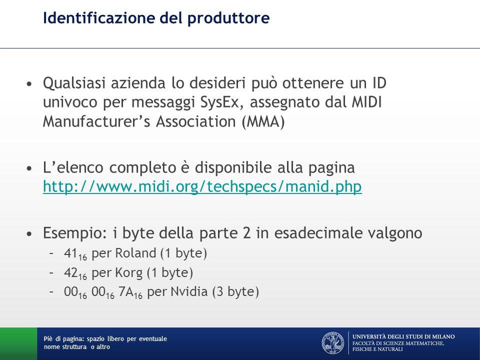 Identificazione del produttore Qualsiasi azienda lo desideri può ottenere un ID univoco per messaggi SysEx, assegnato dal MIDI Manufacturers Associati