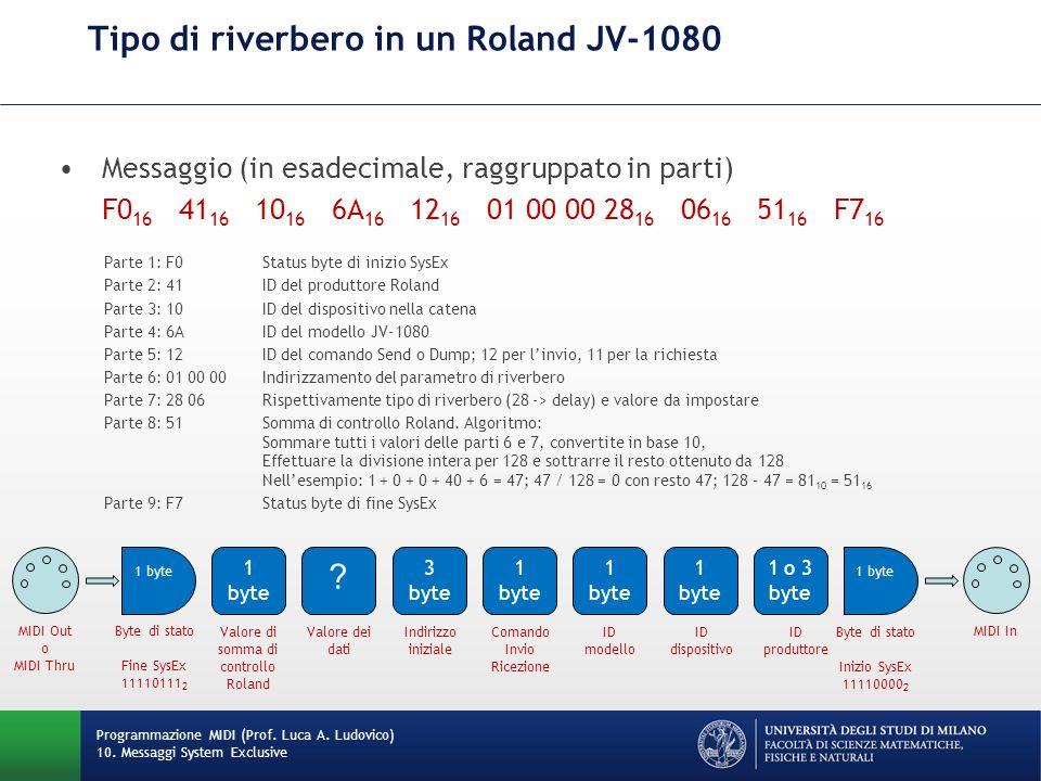 Tipo di riverbero in un Roland JV-1080 Messaggio (in esadecimale, raggruppato in parti) F0 16 41 16 10 16 6A 16 12 16 01 00 00 28 16 06 16 51 16 F7 16