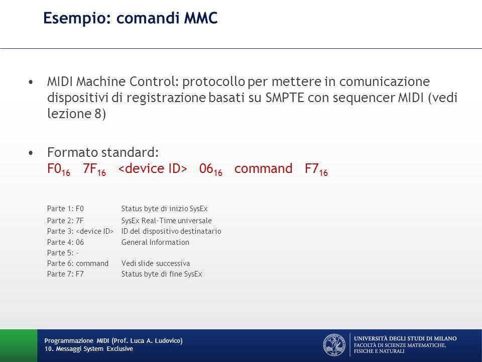 Esempio: comandi MMC Programmazione MIDI (Prof. Luca A. Ludovico) 10. Messaggi System Exclusive MIDI Machine Control: protocollo per mettere in comuni
