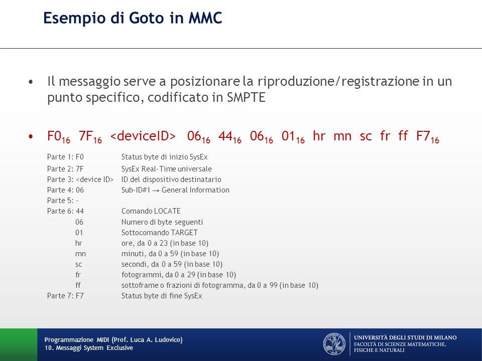 Esempio di Goto in MMC Programmazione MIDI (Prof. Luca A. Ludovico) 10. Messaggi System Exclusive Il messaggio serve a posizionare la riproduzione/reg