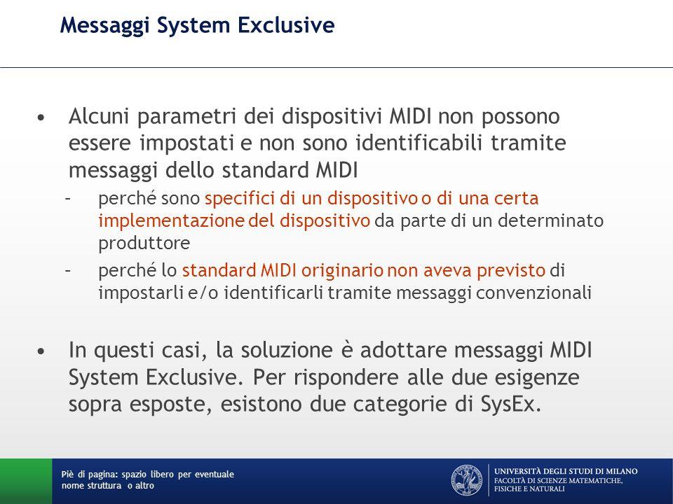 Messaggi System Exclusive Alcuni parametri dei dispositivi MIDI non possono essere impostati e non sono identificabili tramite messaggi dello standard