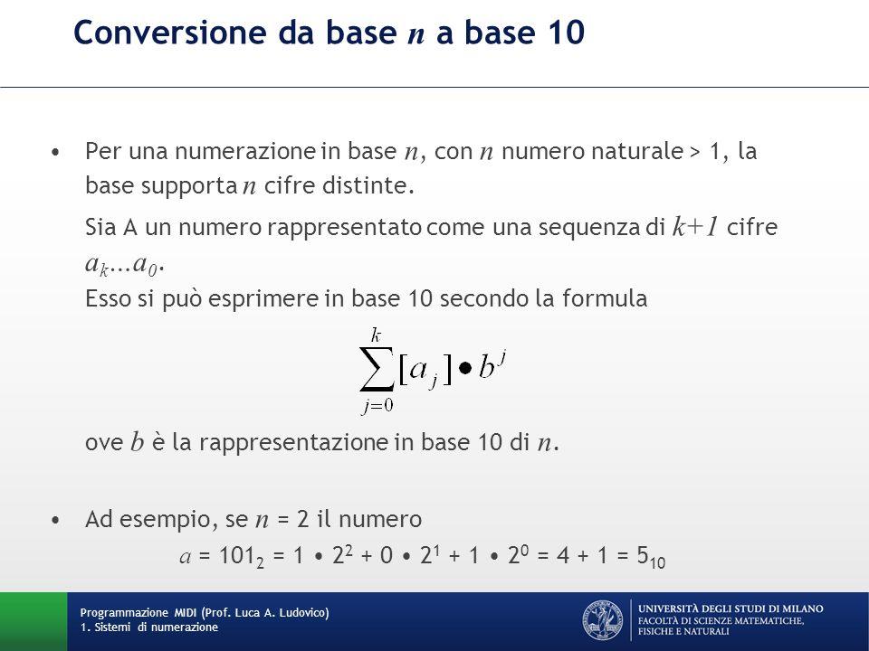 Conversione da base n a base 10 Per una numerazione in base n, con n numero naturale > 1, la base supporta n cifre distinte. Sia A un numero rappresen