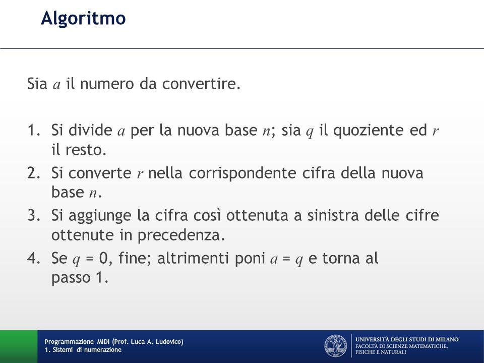 Algoritmo Sia a il numero da convertire. 1.Si divide a per la nuova base n ; sia q il quoziente ed r il resto. 2.Si converte r nella corrispondente ci