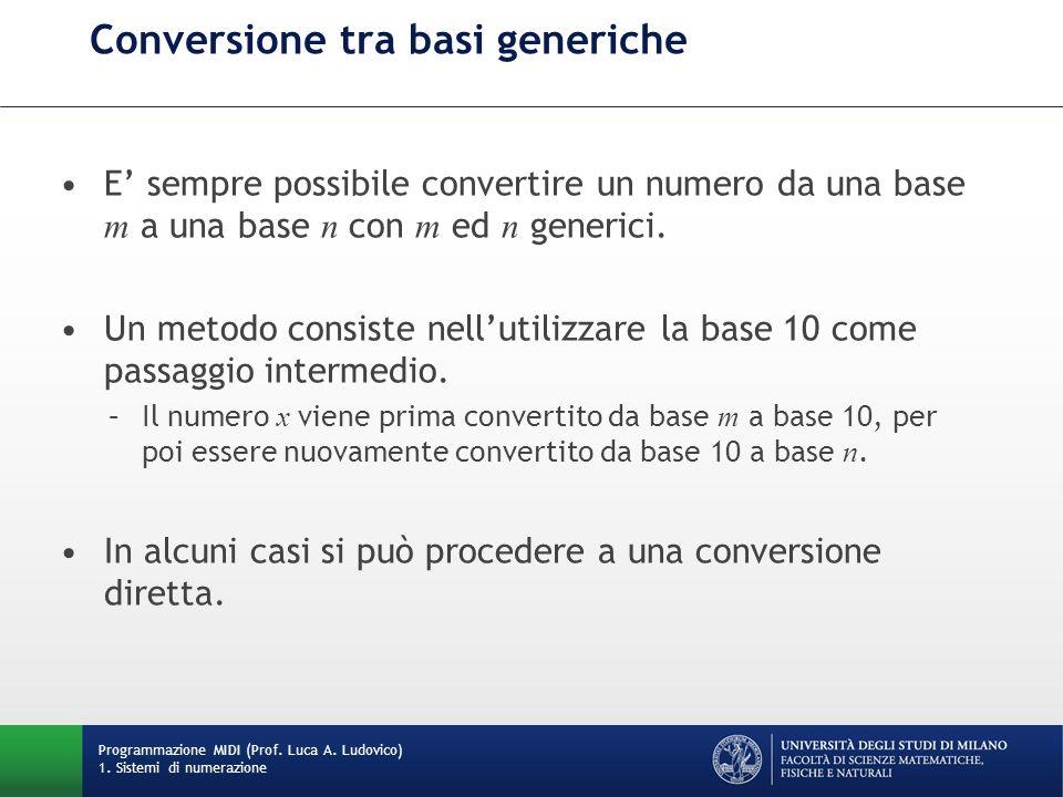 Conversione tra basi generiche E sempre possibile convertire un numero da una base m a una base n con m ed n generici. Un metodo consiste nellutilizza