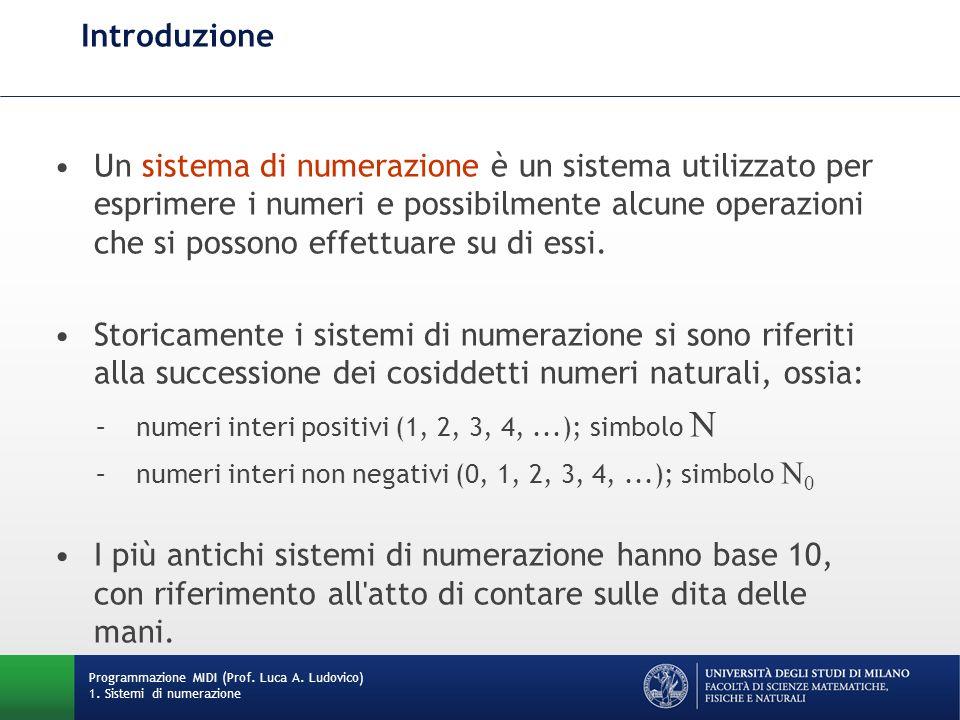 Introduzione Un sistema di numerazione è un sistema utilizzato per esprimere i numeri e possibilmente alcune operazioni che si possono effettuare su d