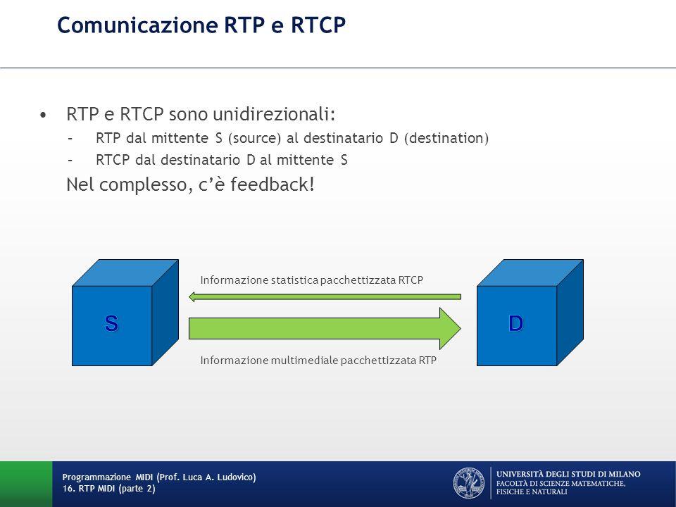 RTP e RTCP sono unidirezionali: –RTP dal mittente S (source) al destinatario D (destination) –RTCP dal destinatario D al mittente S Nel complesso, cè