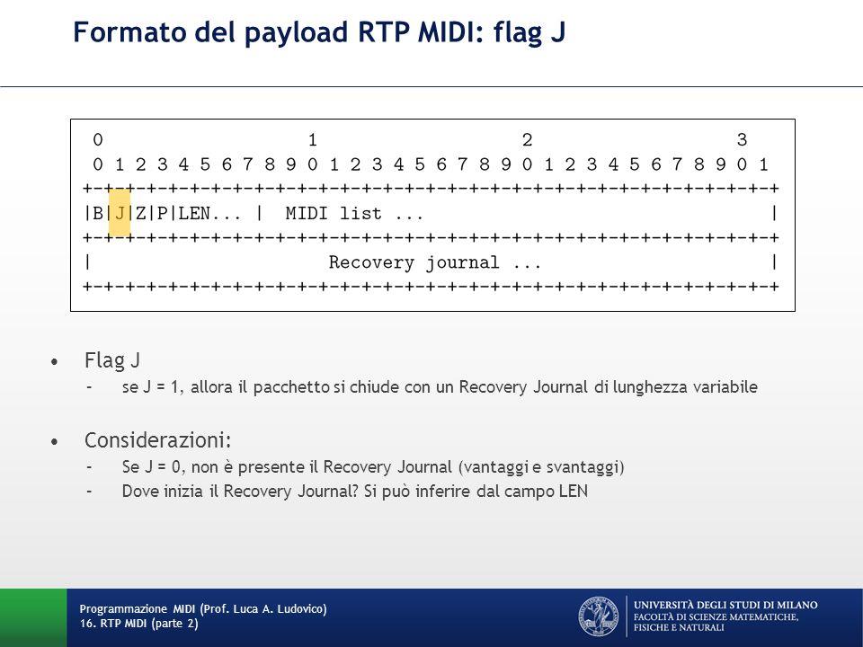 Formato del payload RTP MIDI: flag J Programmazione MIDI (Prof. Luca A. Ludovico) 16. RTP MIDI (parte 2) Flag J –se J = 1, allora il pacchetto si chiu