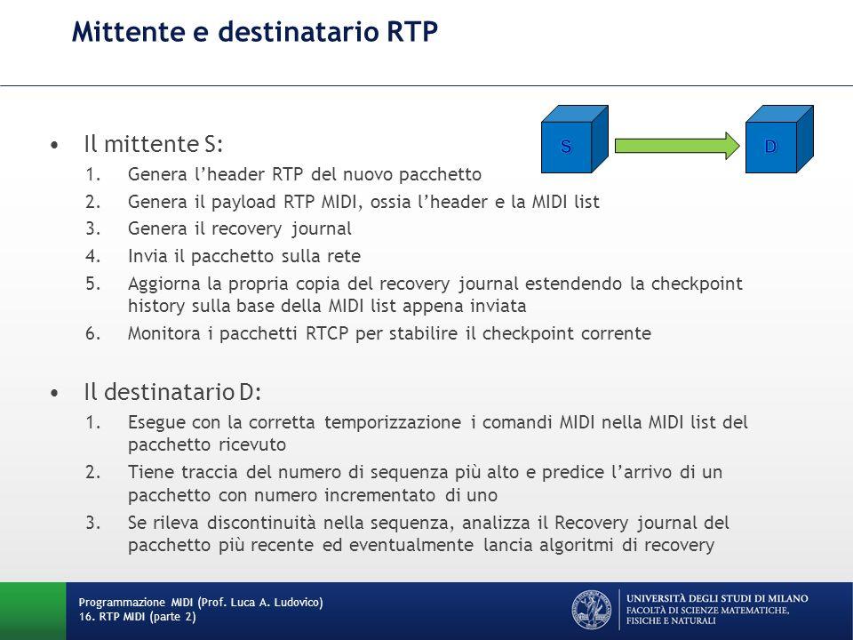 Mittente e destinatario RTP Programmazione MIDI (Prof. Luca A. Ludovico) 16. RTP MIDI (parte 2) Il mittente S: 1.Genera lheader RTP del nuovo pacchett
