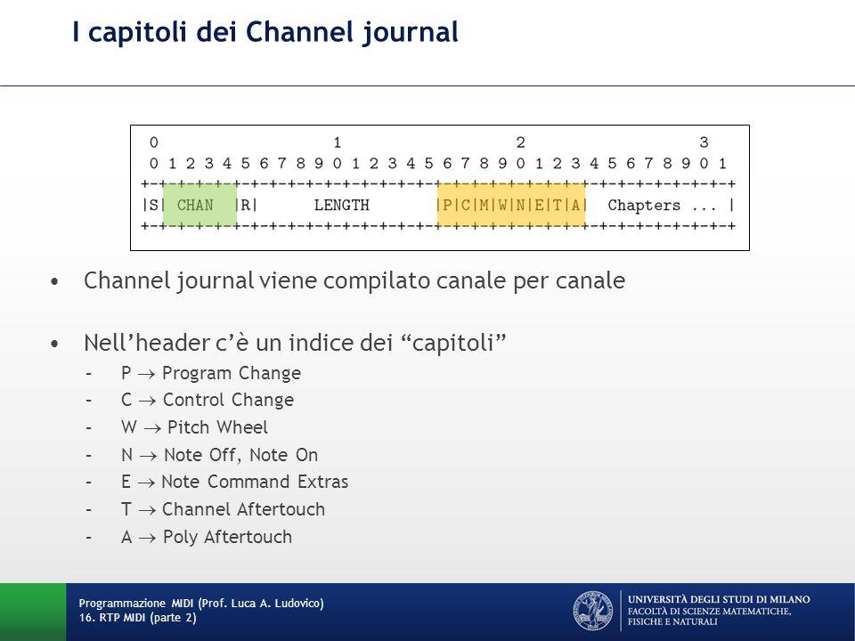 I capitoli dei Channel journal Programmazione MIDI (Prof. Luca A. Ludovico) 16. RTP MIDI (parte 2) Channel journal viene compilato canale per canale N