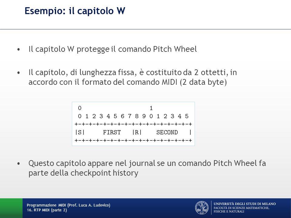 Esempio: il capitolo W Programmazione MIDI (Prof. Luca A. Ludovico) 16. RTP MIDI (parte 2) Il capitolo W protegge il comando Pitch Wheel Il capitolo,