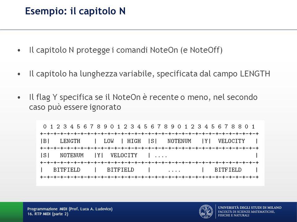 Esempio: il capitolo N Programmazione MIDI (Prof. Luca A. Ludovico) 16. RTP MIDI (parte 2) Il capitolo N protegge i comandi NoteOn (e NoteOff) Il capi