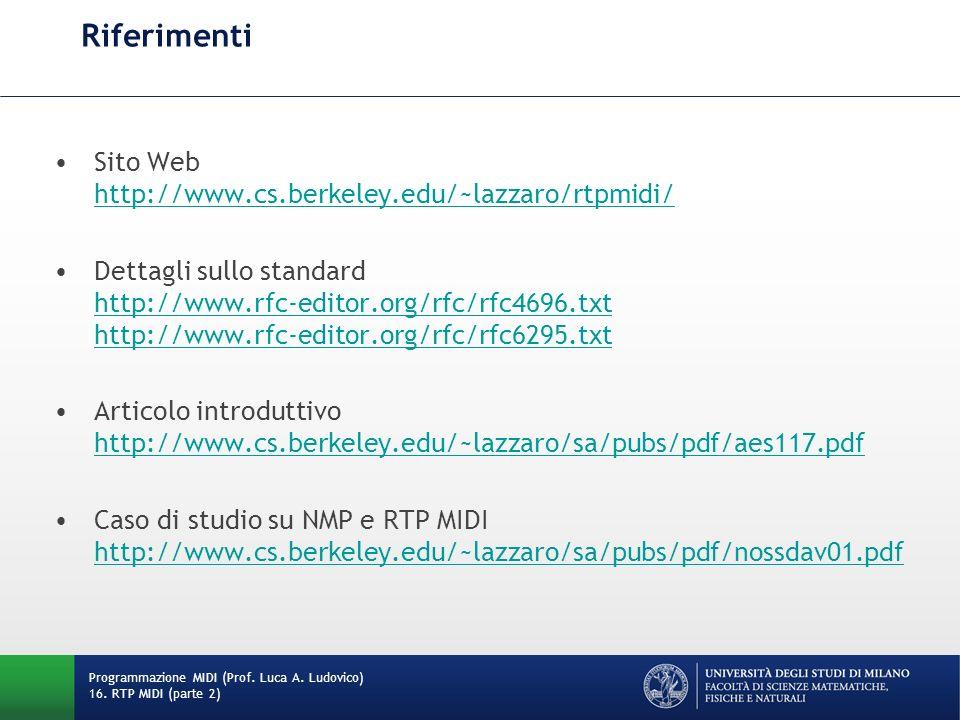 Riferimenti Sito Web http://www.cs.berkeley.edu/~lazzaro/rtpmidi/ http://www.cs.berkeley.edu/~lazzaro/rtpmidi/ Dettagli sullo standard http://www.rfc-