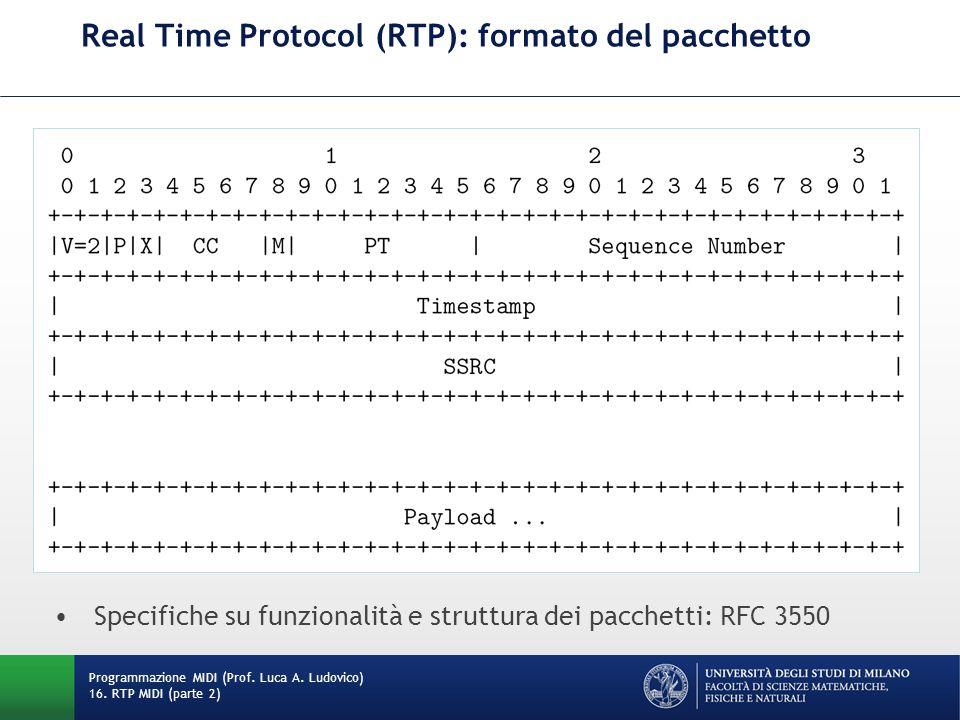 Real Time Protocol (RTP): formato del pacchetto Programmazione MIDI (Prof. Luca A. Ludovico) 16. RTP MIDI (parte 2) Specifiche su funzionalità e strut