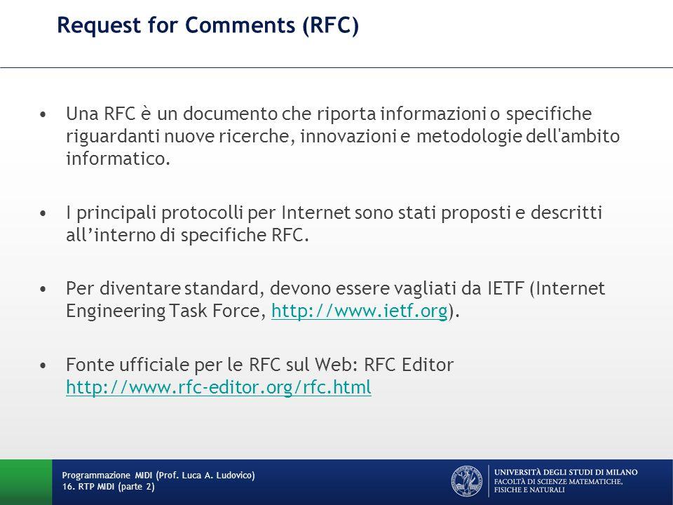 Request for Comments (RFC) Una RFC è un documento che riporta informazioni o specifiche riguardanti nuove ricerche, innovazioni e metodologie dell'amb