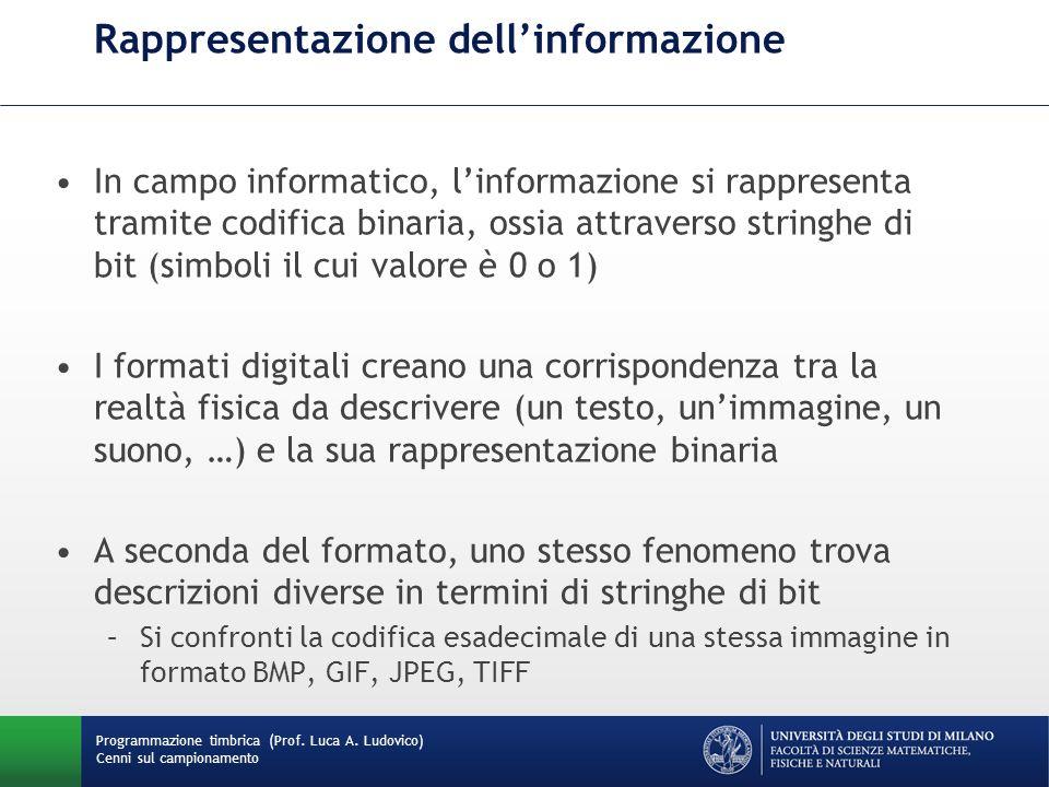 Programmazione timbrica (Prof. Luca A. Ludovico) Cenni sul campionamento Rappresentazione dellinformazione In campo informatico, linformazione si rapp