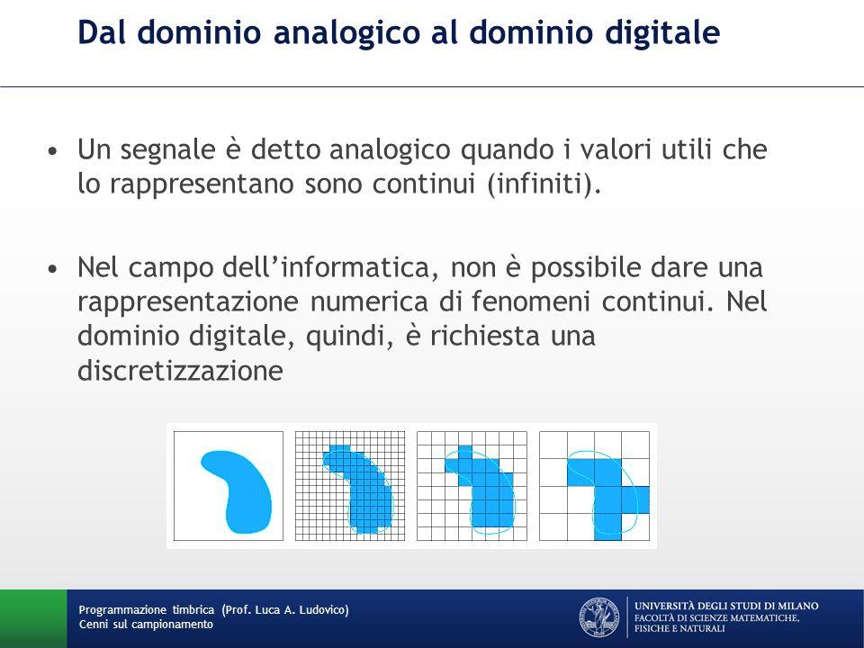 Programmazione timbrica (Prof. Luca A. Ludovico) Cenni sul campionamento Dal dominio analogico al dominio digitale Un segnale è detto analogico quando