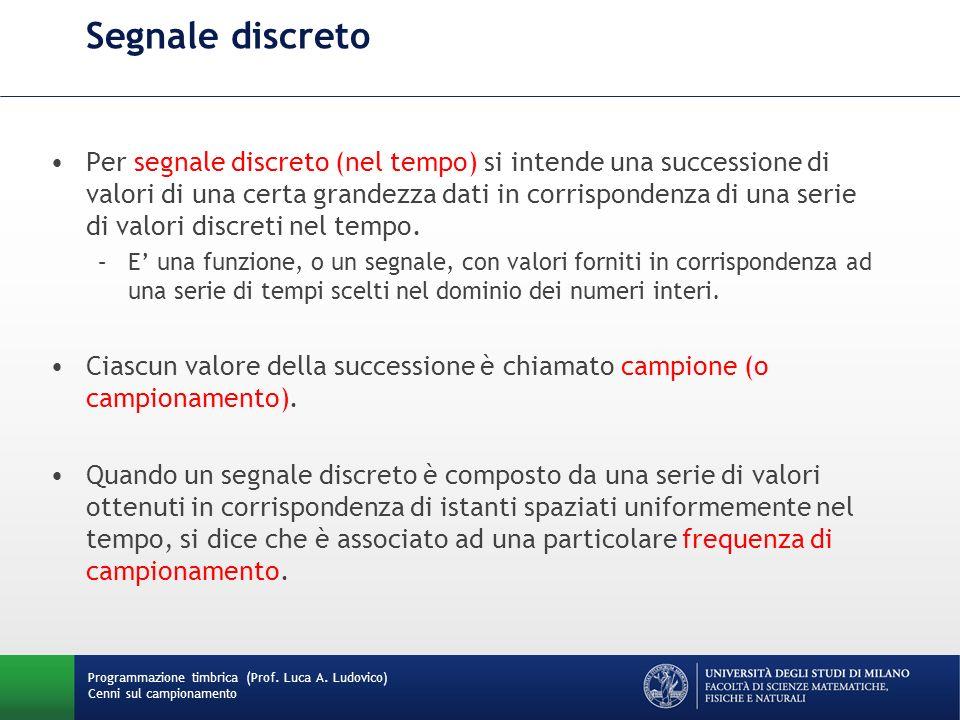 Programmazione timbrica (Prof. Luca A. Ludovico) Cenni sul campionamento Segnale discreto Per segnale discreto (nel tempo) si intende una successione