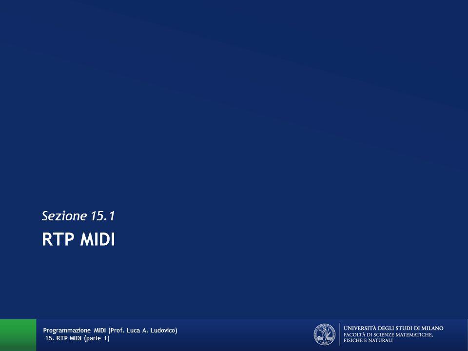 RTP MIDI Sezione 15.1 Programmazione MIDI (Prof. Luca A. Ludovico) 15. RTP MIDI (parte 1)