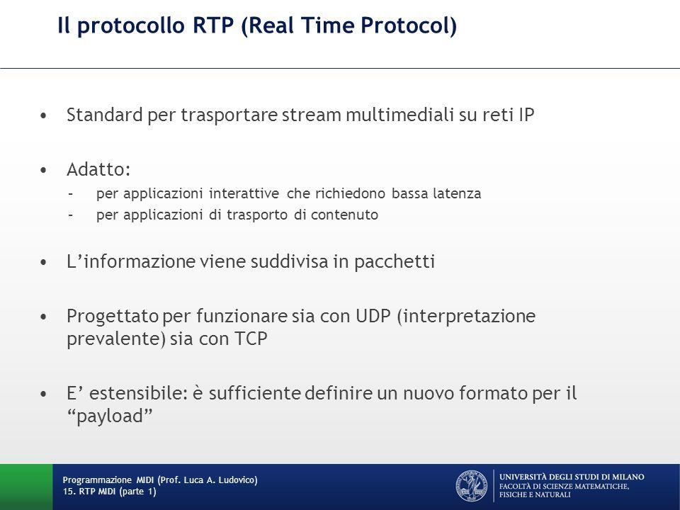Il protocollo RTP (Real Time Protocol) Standard per trasportare stream multimediali su reti IP Adatto: –per applicazioni interattive che richiedono ba
