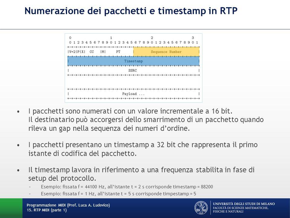 Numerazione dei pacchetti e timestamp in RTP Programmazione MIDI (Prof. Luca A. Ludovico) 15. RTP MIDI (parte 1) I pacchetti sono numerati con un valo