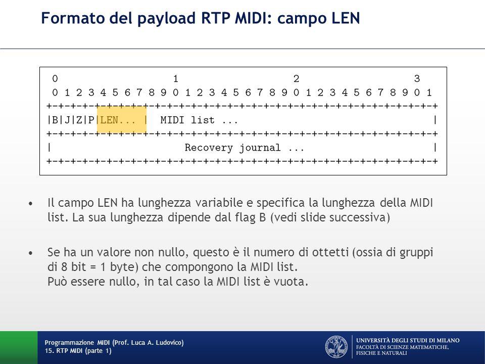 Formato del payload RTP MIDI: campo LEN Programmazione MIDI (Prof. Luca A. Ludovico) 15. RTP MIDI (parte 1) Il campo LEN ha lunghezza variabile e spec