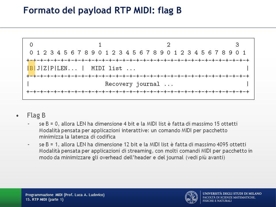 Formato del payload RTP MIDI: flag B Programmazione MIDI (Prof. Luca A. Ludovico) 15. RTP MIDI (parte 1) Flag B –se B = 0, allora LEN ha dimensione 4