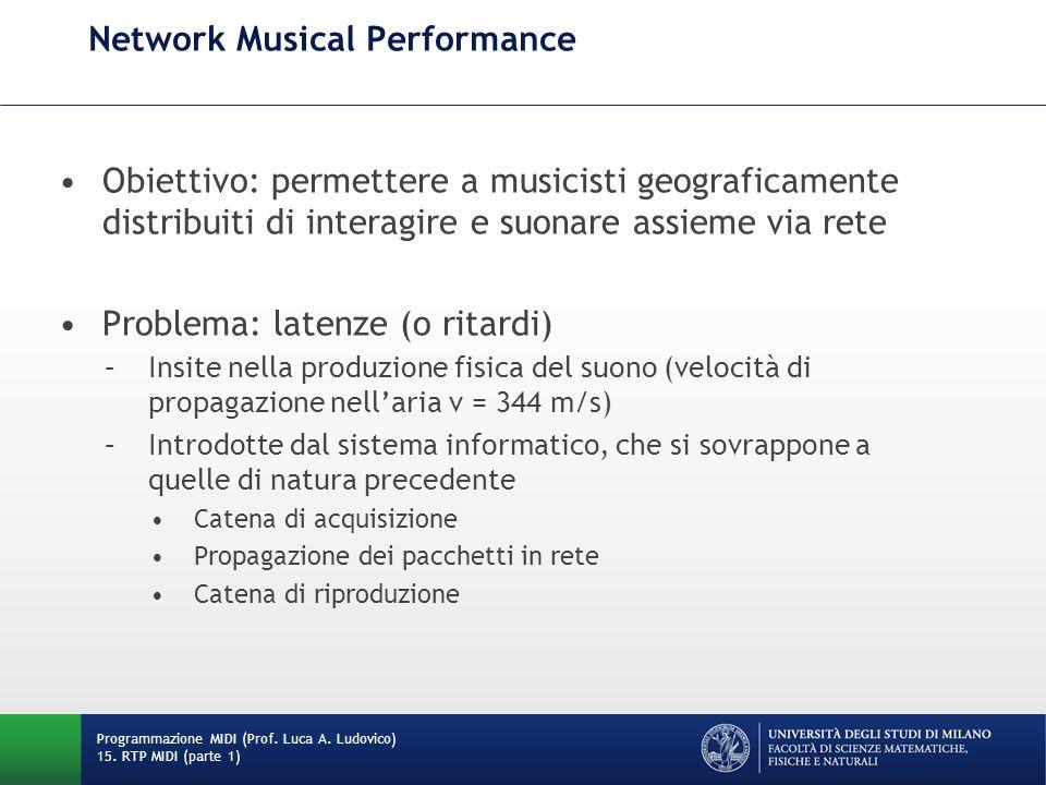 Network Musical Performance Obiettivo: permettere a musicisti geograficamente distribuiti di interagire e suonare assieme via rete Problema: latenze (
