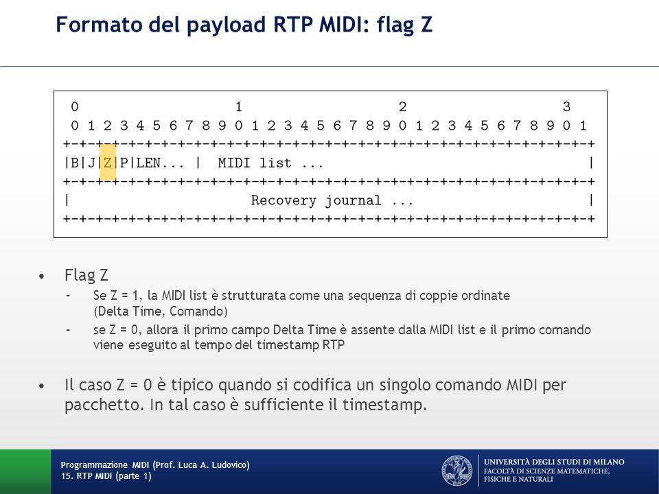 Formato del payload RTP MIDI: flag Z Programmazione MIDI (Prof. Luca A. Ludovico) 15. RTP MIDI (parte 1) Flag Z –Se Z = 1, la MIDI list è strutturata