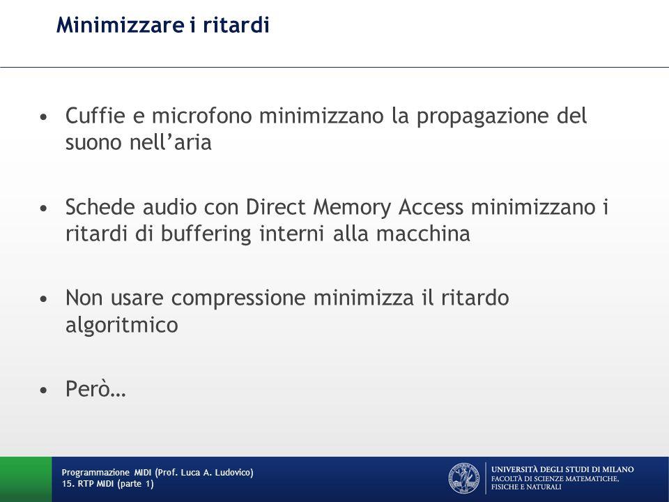 Minimizzare i ritardi Cuffie e microfono minimizzano la propagazione del suono nellaria Schede audio con Direct Memory Access minimizzano i ritardi di