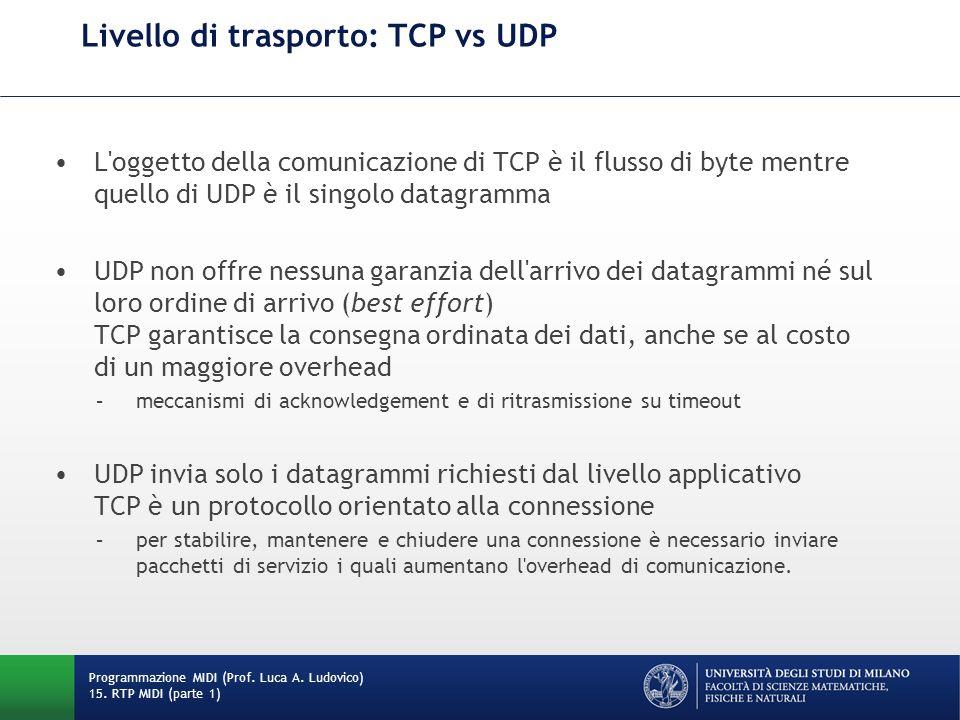 Livello di trasporto: TCP vs UDP L'oggetto della comunicazione di TCP è il flusso di byte mentre quello di UDP è il singolo datagramma UDP non offre n