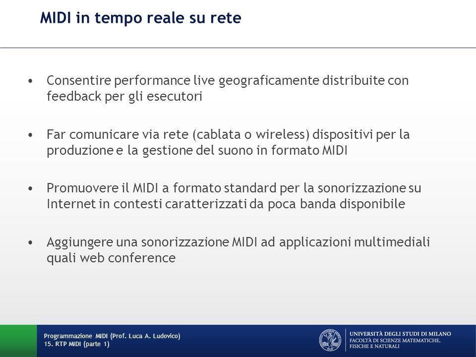 MIDI in tempo reale su rete Consentire performance live geograficamente distribuite con feedback per gli esecutori Far comunicare via rete (cablata o
