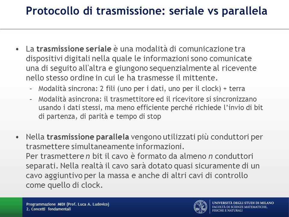 Protocollo di trasmissione: seriale vs parallela La trasmissione seriale è una modalità di comunicazione tra dispositivi digitali nella quale le infor