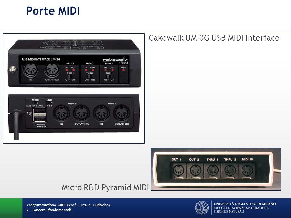 Porte MIDI Programmazione MIDI (Prof. Luca A. Ludovico) 2. Concetti fondamentali Cakewalk UM-3G USB MIDI Interface Micro R&D Pyramid MIDI