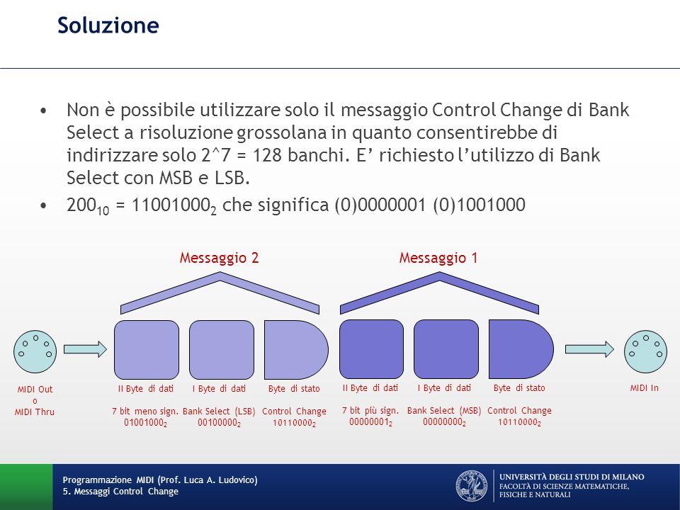 Soluzione Programmazione MIDI (Prof. Luca A. Ludovico) 5. Messaggi Control Change Non è possibile utilizzare solo il messaggio Control Change di Bank