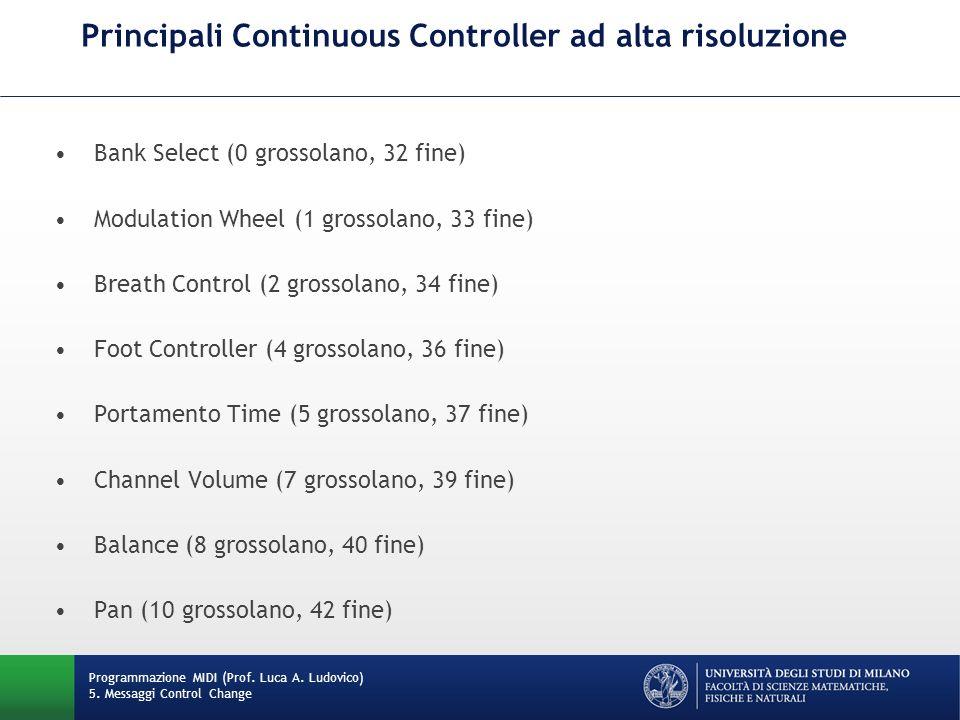 Principali Continuous Controller ad alta risoluzione Programmazione MIDI (Prof. Luca A. Ludovico) 5. Messaggi Control Change Bank Select (0 grossolano