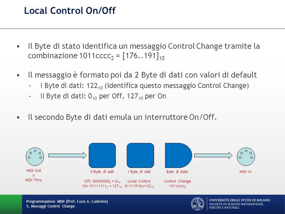 Local Control On/Off Programmazione MIDI (Prof. Luca A. Ludovico) 5. Messaggi Control Change Il Byte di stato identifica un messaggio Control Change t