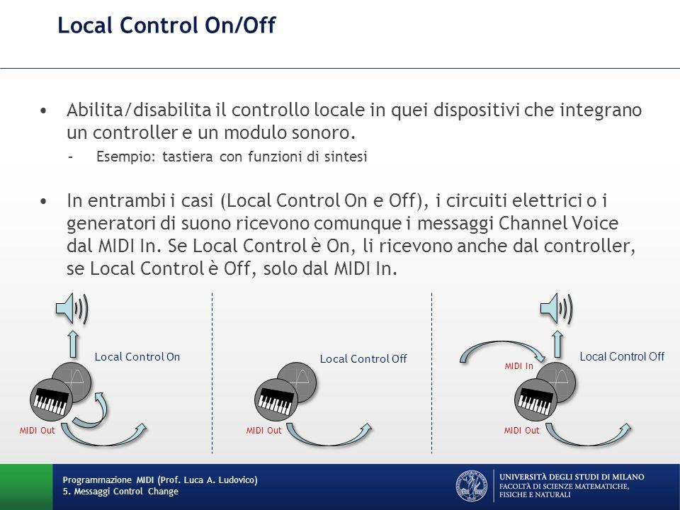 Local Control On/Off Programmazione MIDI (Prof. Luca A. Ludovico) 5. Messaggi Control Change Abilita/disabilita il controllo locale in quei dispositiv