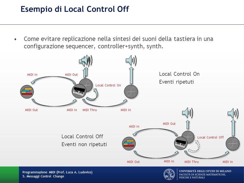 Esempio di Local Control Off Programmazione MIDI (Prof. Luca A. Ludovico) 5. Messaggi Control Change Come evitare replicazione nella sintesi dei suoni