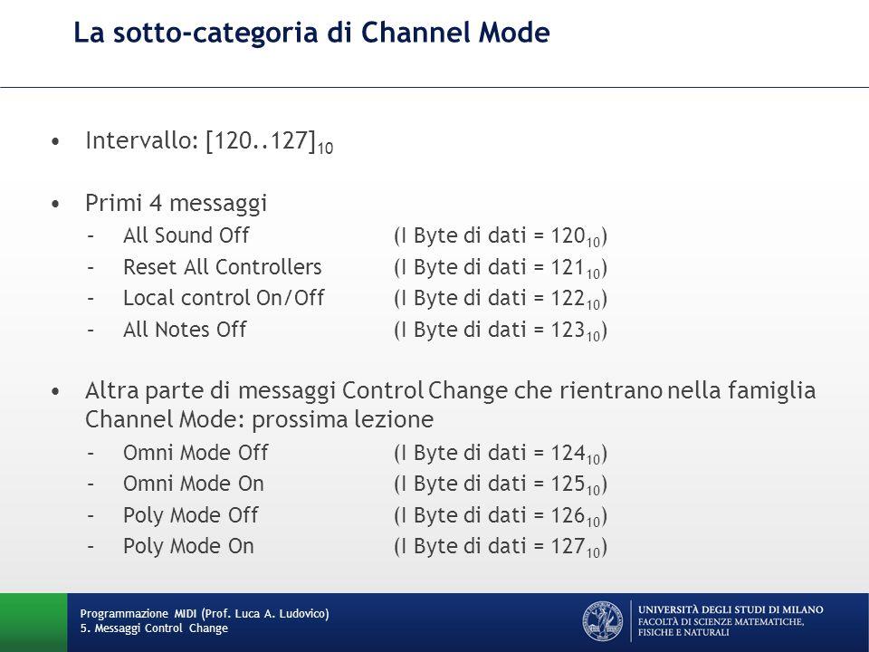 La sotto-categoria di Channel Mode Programmazione MIDI (Prof. Luca A. Ludovico) 5. Messaggi Control Change Intervallo: [120..127] 10 Primi 4 messaggi