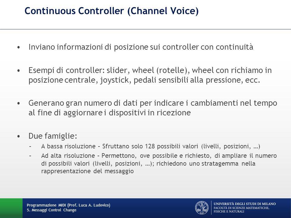 Continuous Controller (Channel Voice) Programmazione MIDI (Prof. Luca A. Ludovico) 5. Messaggi Control Change Inviano informazioni di posizione sui co