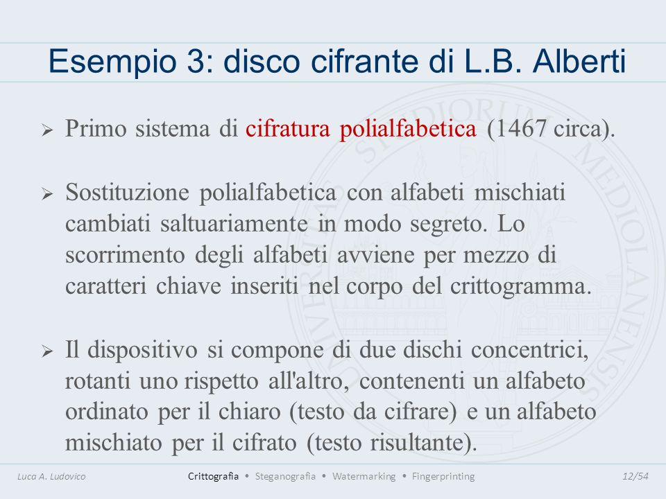 Esempio 3: disco cifrante di L.B. Alberti Luca A. Ludovico Crittografia Steganografia Watermarking Fingerprinting12/54 Primo sistema di cifratura poli