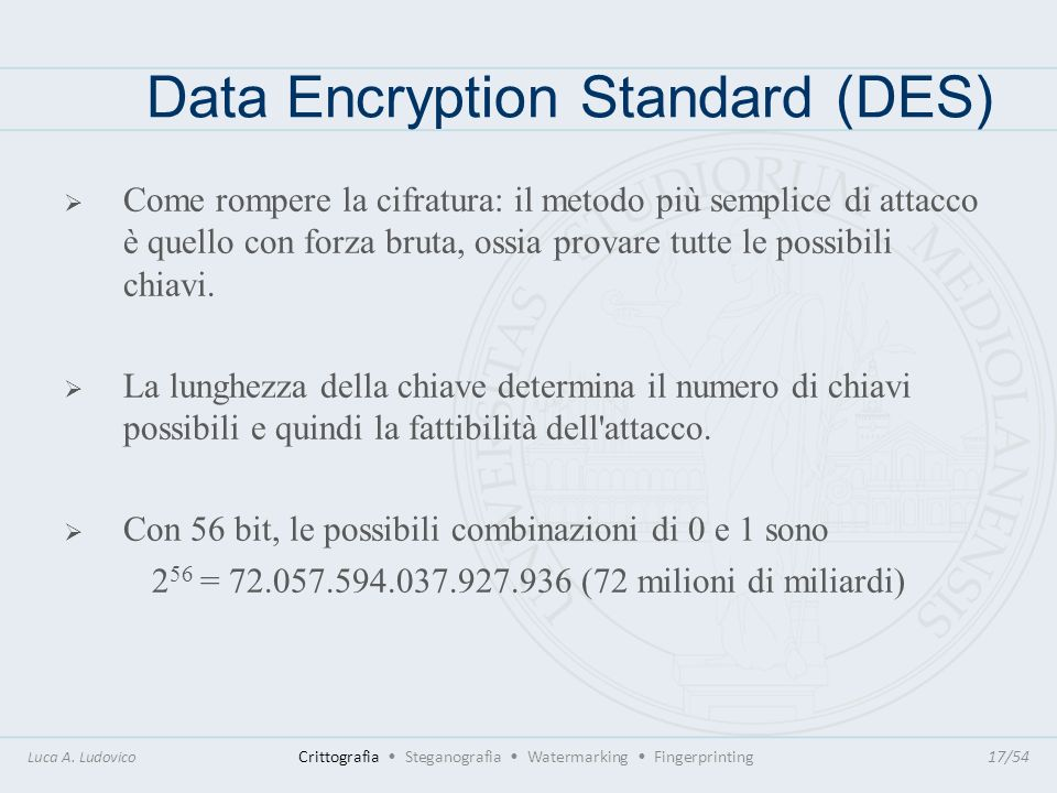 Data Encryption Standard (DES) Luca A. Ludovico Crittografia Steganografia Watermarking Fingerprinting17/54 Come rompere la cifratura: il metodo più s