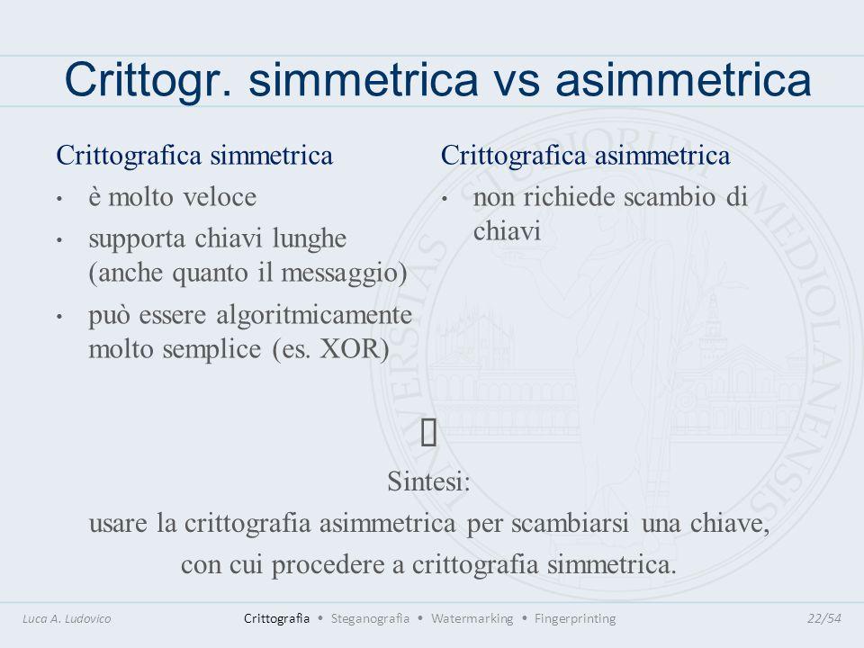 Crittogr. simmetrica vs asimmetrica Sintesi: usare la crittografia asimmetrica per scambiarsi una chiave, con cui procedere a crittografia simmetrica.