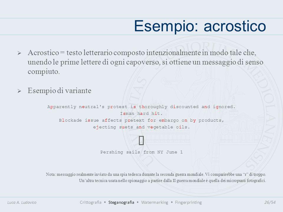 Esempio: acrostico Acrostico = testo letterario composto intenzionalmente in modo tale che, unendo le prime lettere di ogni capoverso, si ottiene un m