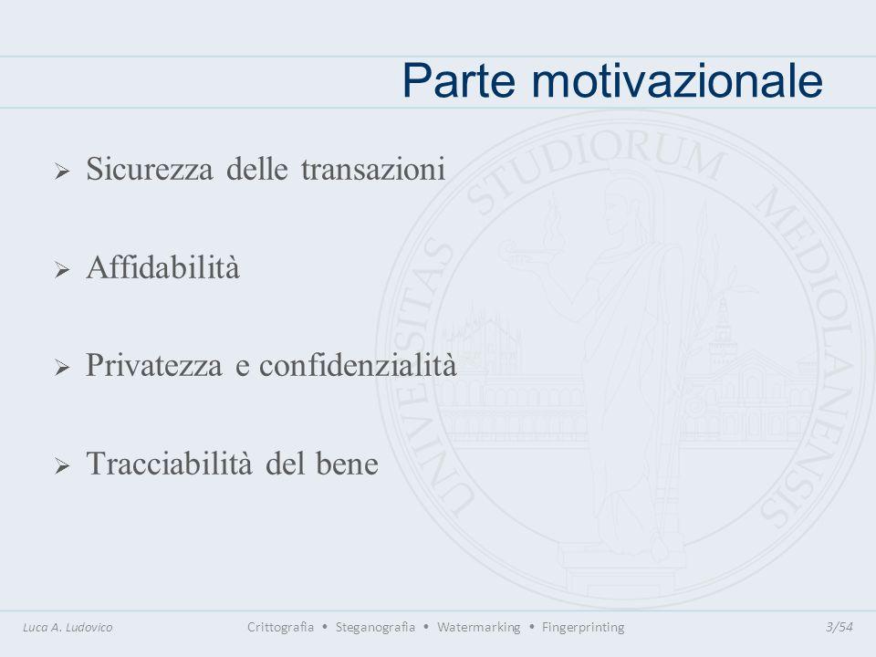 Parte motivazionale Sicurezza delle transazioni Affidabilità Privatezza e confidenzialità Tracciabilità del bene Luca A. Ludovico Crittografia Stegano