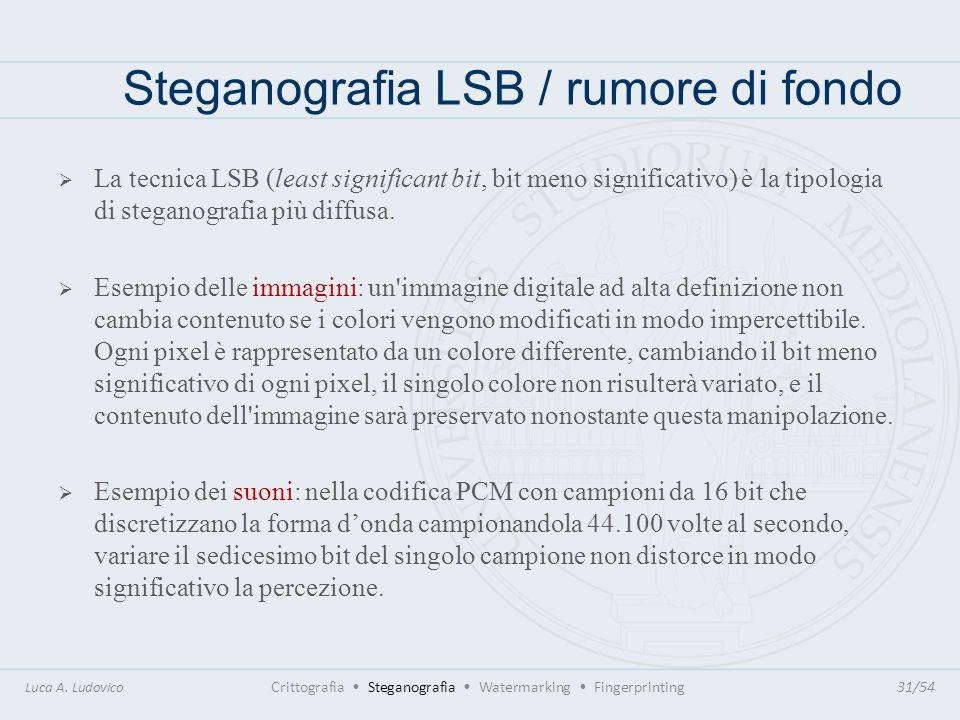 Steganografia LSB / rumore di fondo Luca A. Ludovico Crittografia Steganografia Watermarking Fingerprinting31/54 La tecnica LSB (least significant bit