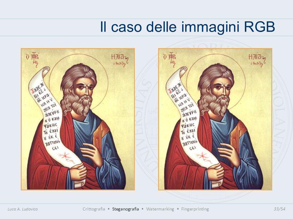 Il caso delle immagini RGB Luca A. Ludovico Crittografia Steganografia Watermarking Fingerprinting33/54